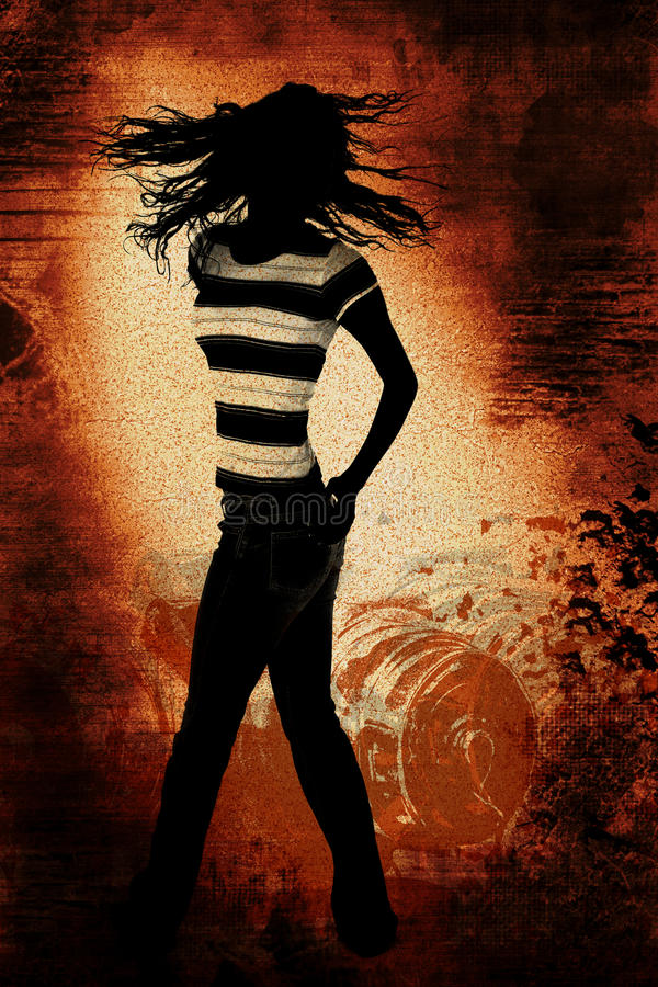 Silhueta adolescente de dança sobre a ilustração de Grunge ilustração royalty free