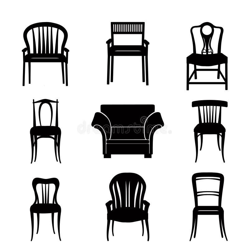 Silhueta ajustada da poltrona e da cadeira na mobília retro do estilo retro ilustração royalty free
