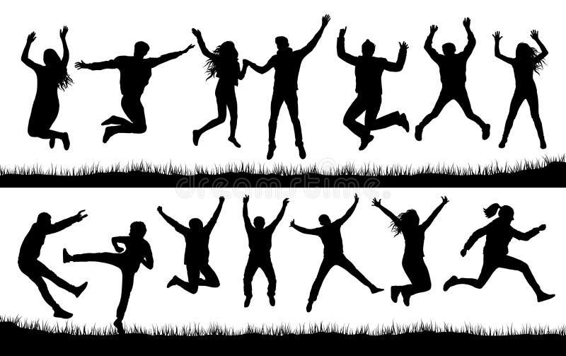 Silhueta ajustada de salto da multidão dos povos ilustração stock
