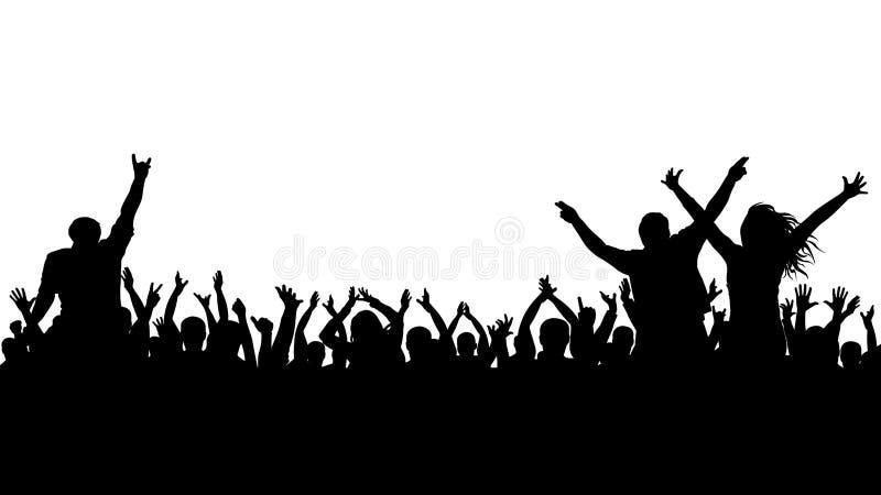 Silhueta alegre da multidão Os povos do partido, aplaudem Concerto da dança de fãs, disco ilustração stock