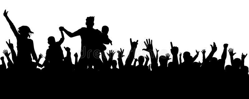 Silhueta alegre da multidão Os povos do partido, aplaudem Concerto da dança de fãs, disco Mãos acima ilustração stock