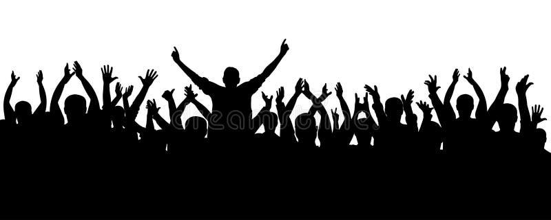 Silhueta alegre dos povos da multidão do aplauso Concerto, partido Cheering engraçado, fãs de esportes, vetor isolado ilustração stock