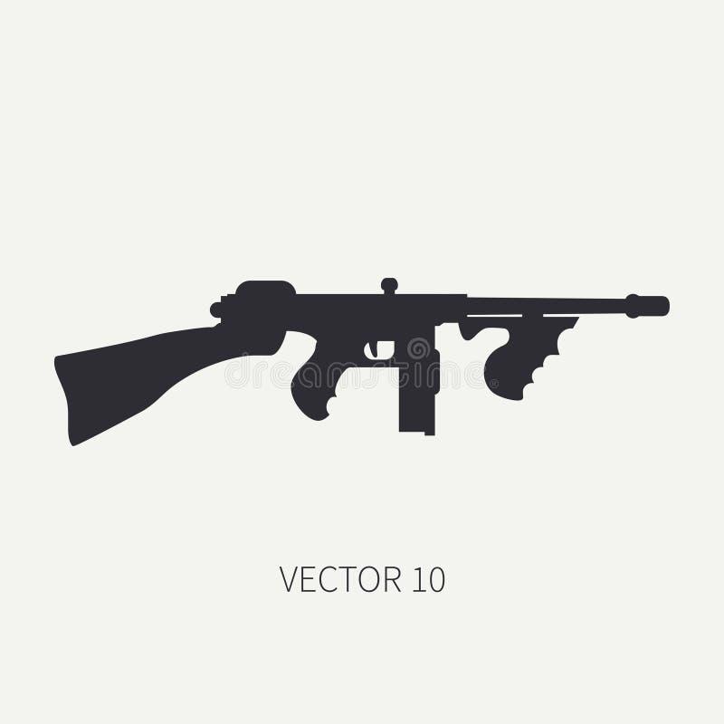 Silhueta Alinhe o ícone militar do vetor liso - metralhadora Equipamento e armamento do exército Arma retro legendária cartoon ilustração royalty free
