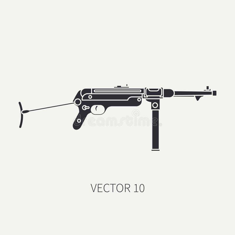 Silhueta Alinhe o ícone militar do vetor liso - metralhadora Equipamento e armamento do exército Arma retro legendária cartoon ilustração do vetor