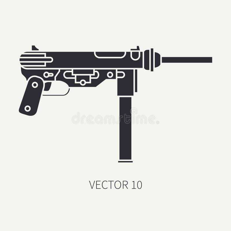 Silhueta Alinhe o ícone militar do vetor liso - metralhadora Equipamento e armamento do exército Arma retro legendária cartoon ilustração stock