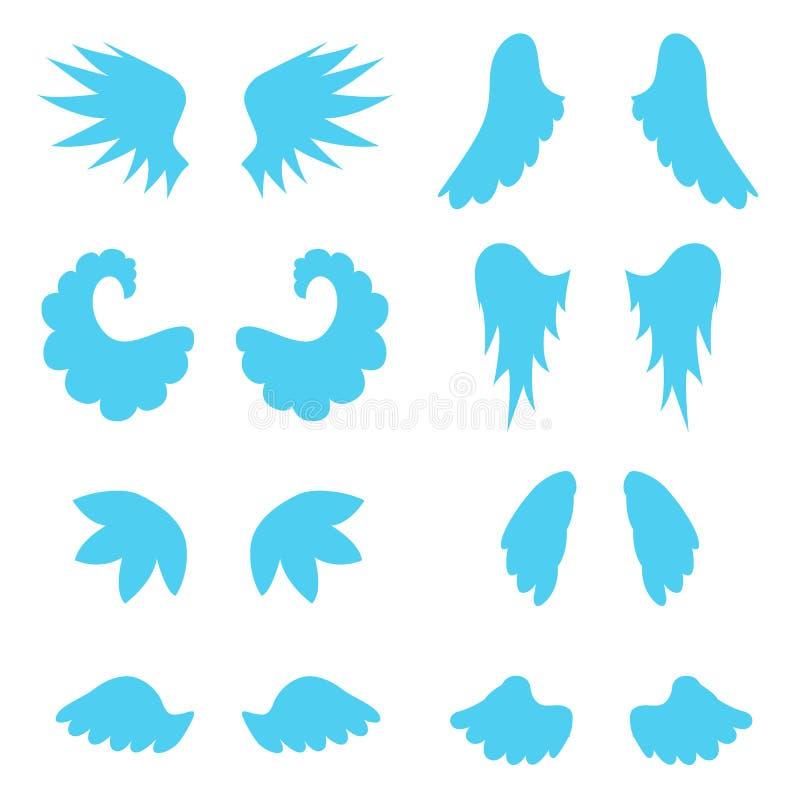 Silhueta Angel Wings Set azul dos desenhos animados Vetor ilustração stock