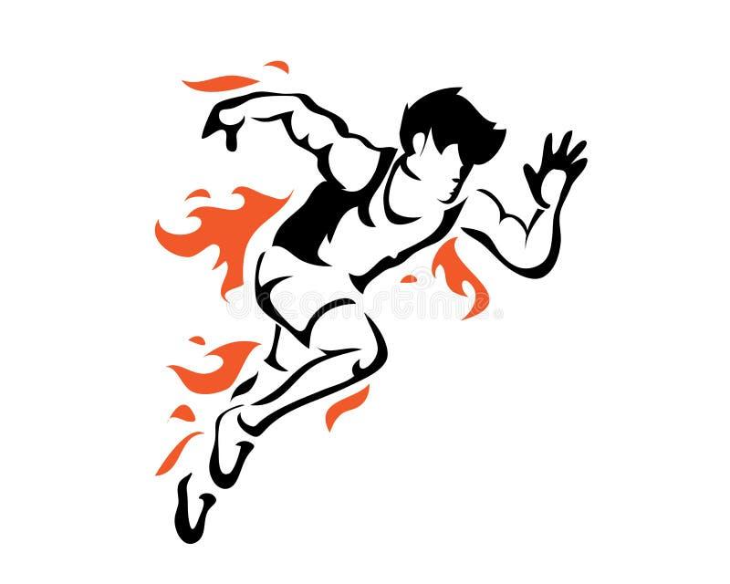 Silhueta apaixonado moderna do corredor no logotipo da ação ilustração royalty free