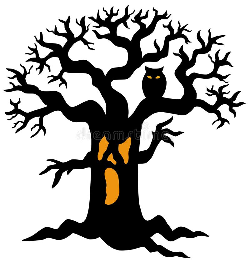 Silhueta assustador da árvore ilustração stock