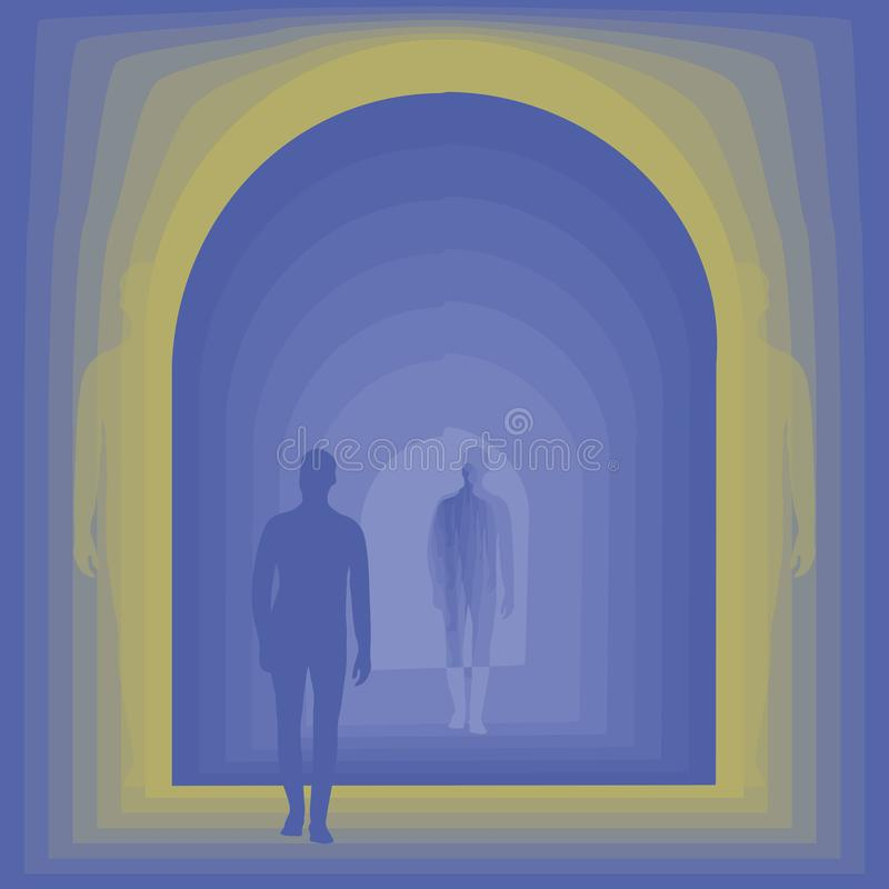 Silhueta azul do homem no fundo azul da porta do túnel com fulgor amarelo na ilustração quadrada do vetor das bordas ilustração do vetor