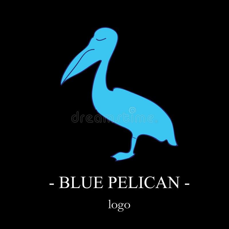 A silhueta azul do pelicano no perfil, estando em um pé Um trafoon do ` s do pássaro em um fundo preto Logotipo à moda simples ilustração stock