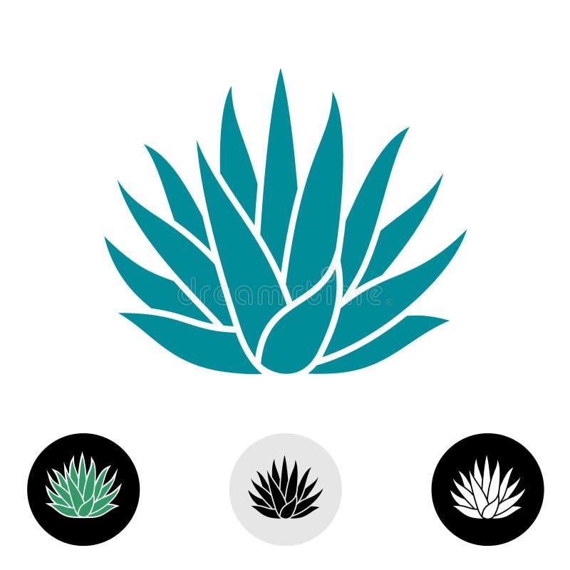Silhueta azul do vetor da planta da agave ilustração do vetor