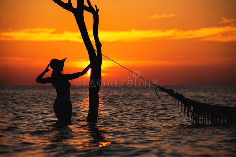 Silhueta bonita da jovem mulher com o balanço que levanta no mar no por do sol, cenário romântico maldivo fotos de stock royalty free