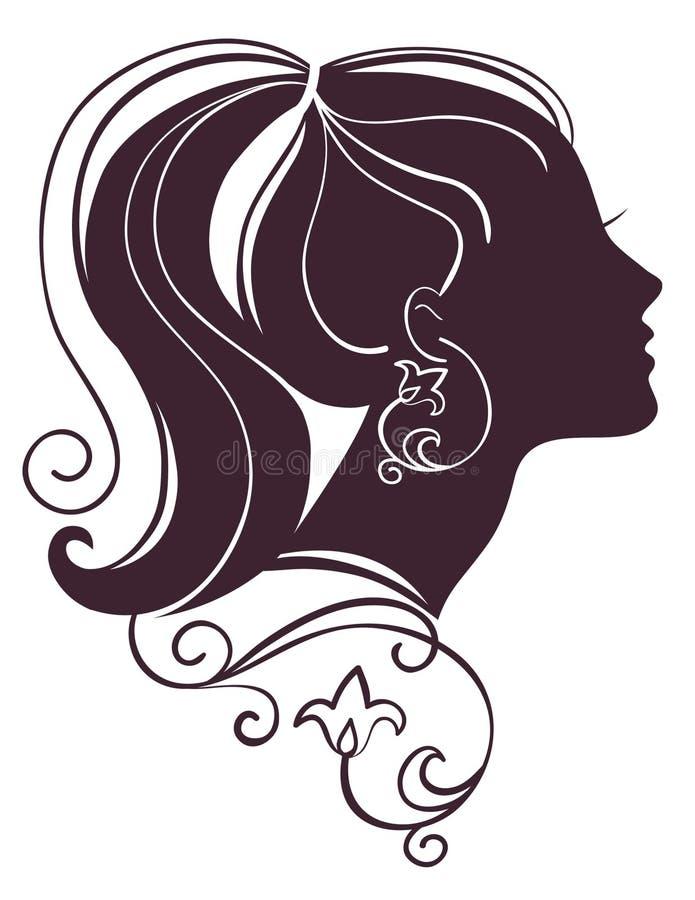 Silhueta bonita da mulher ilustração royalty free