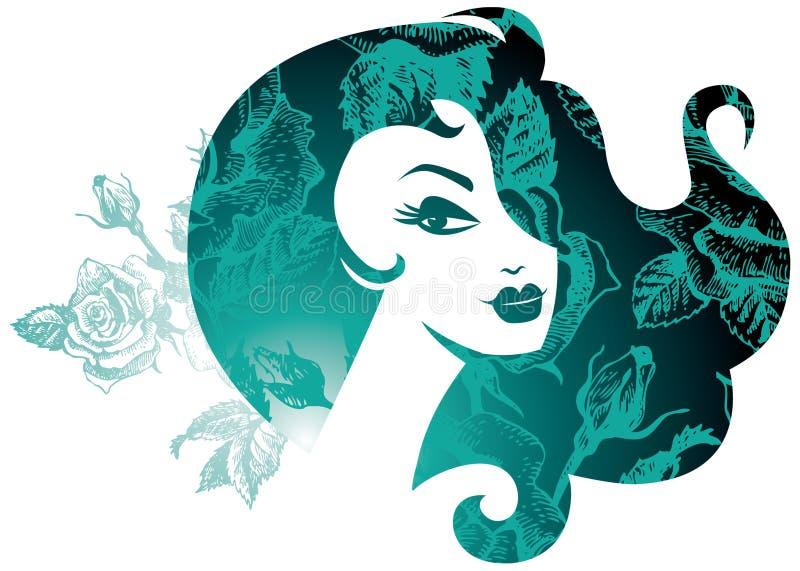 Silhueta bonita da mulher ilustração do vetor