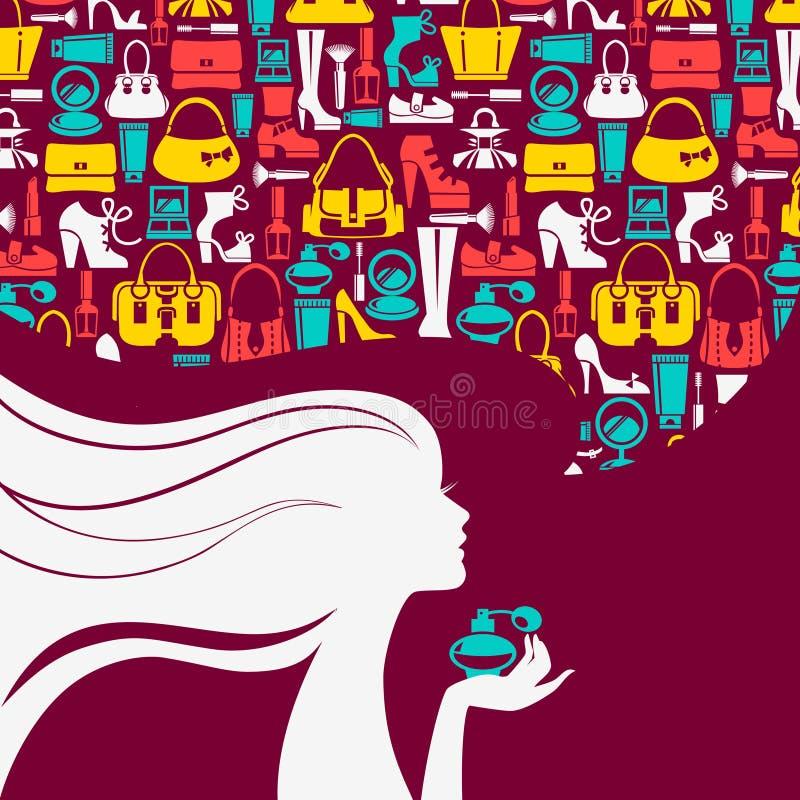 Silhueta bonita da mulher com bolha da forma ilustração stock
