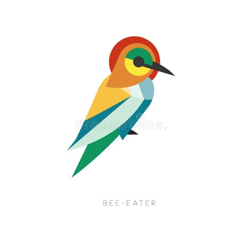 Silhueta bonita do abelha-comedor composta das formas geométricas simples Pássaro abstrato colorido com bico longo liso ilustração royalty free