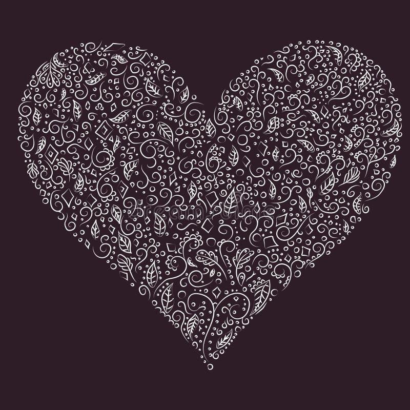 Silhueta bonita do coração de flores, de folhas, de cartão e de convite do laço do casamento, o dia de Valentim, a Dinamarca da m imagens de stock royalty free