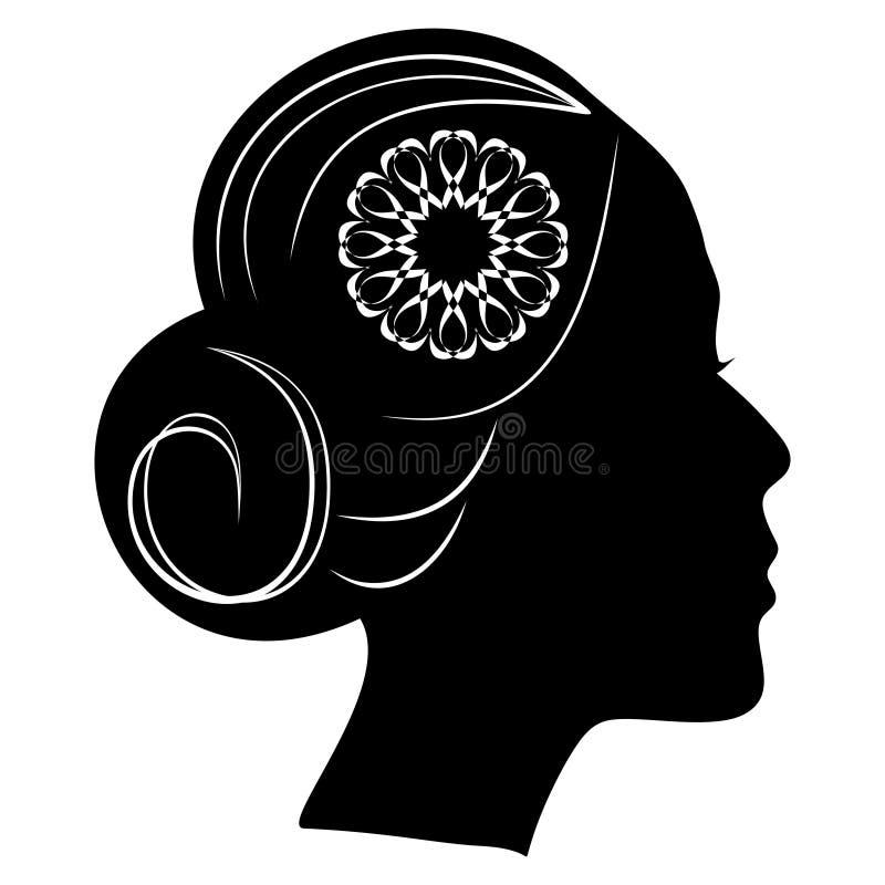 A silhueta bonita do perfil da senhora com um bolo e o laço florescem no cabelo penteado clássico do vintage ilustração do vetor