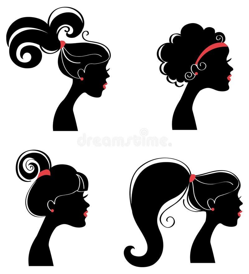Silhueta bonita dos womanâs ilustração stock