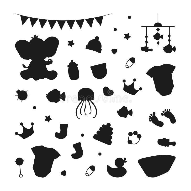 Silhueta bonito ajustada dos ícones para uma festa do bebê ilustração stock