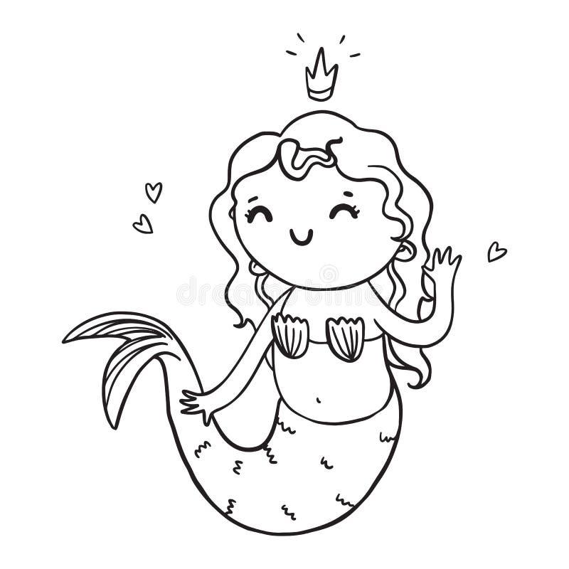 Silhueta bonito da menina da sereia dos desenhos animados Ilustração do contorno do vetor para colorir ilustração royalty free