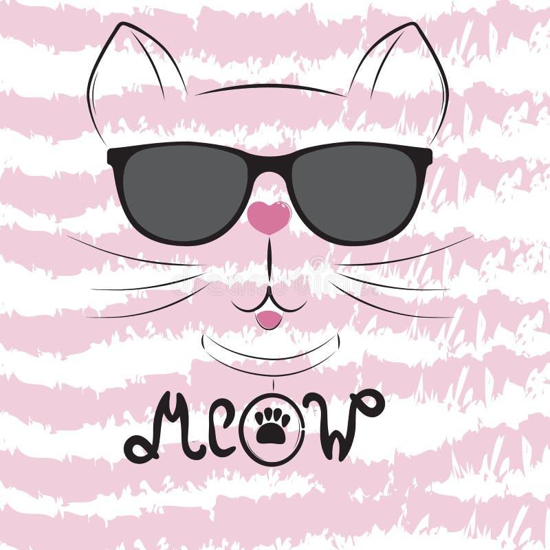 Silhueta bonito do gato Cabeça preta do gato com ` do miado do ` da palavra da rotulação ilustração do vetor