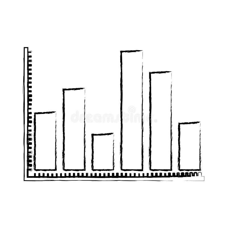 A silhueta borrada de gráficos estatísticos contorna barras grossas ilustração royalty free