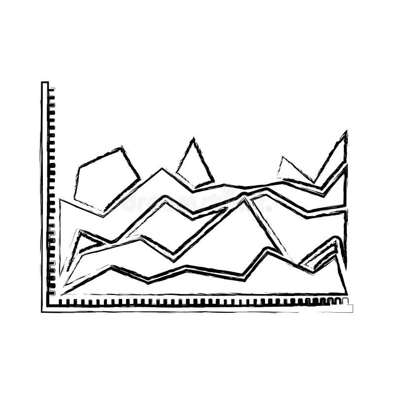 Silhueta borrada de gráficos estatísticos na forma do pico ilustração do vetor