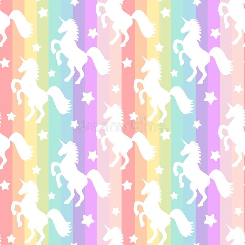 Silhueta branca bonito dos unicórnios na ilustração sem emenda do fundo do teste padrão das listras coloridas do arco-íris ilustração do vetor