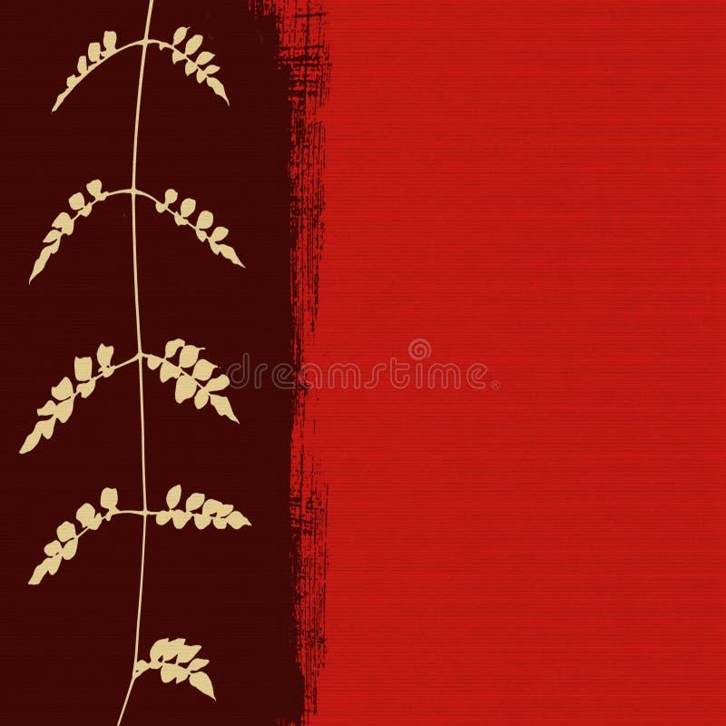Silhueta branca da folha no fundo vermelho ilustração royalty free