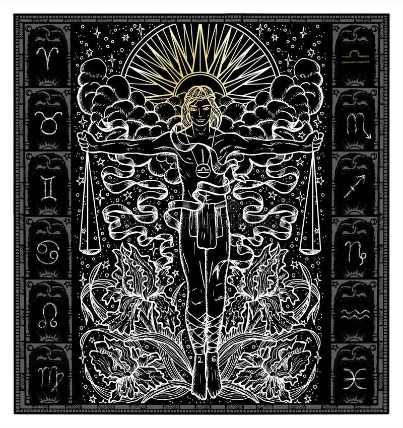 Silhueta branca da Libra do sinal do zodíaco da fantasia no quadro gótico no preto ilustração royalty free