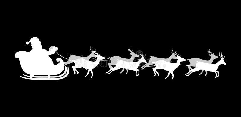 Silhueta branca de voar Santa Claus com a rena em vagabundos pretos ilustração stock