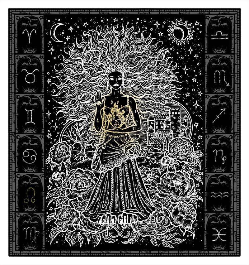 Silhueta branca do Leão do sinal do zodíaco da fantasia no quadro gótico no preto ilustração stock