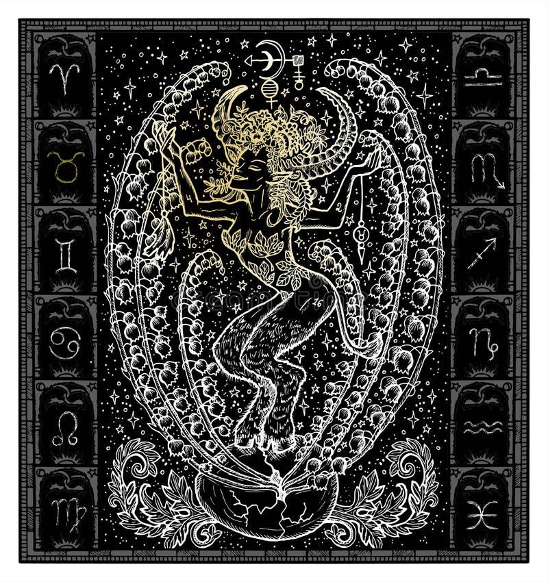 Silhueta branca do sinal Bull do zodíaco da fantasia ou do Touro no quadro gótico no preto ilustração stock