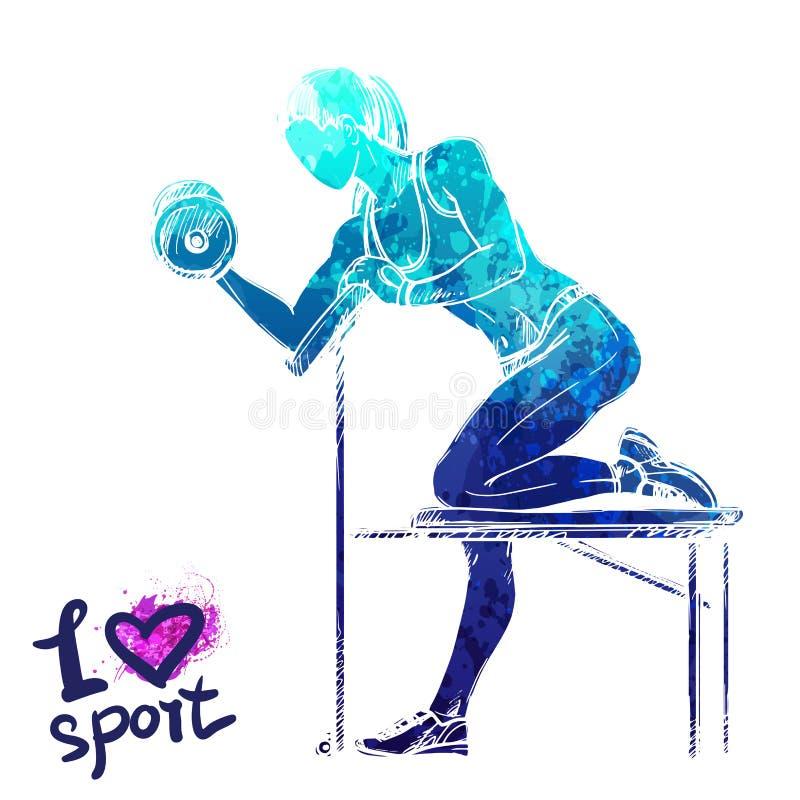 A silhueta brilhante da aquarela de uma menina está treinando com pesos ilustração do vetor
