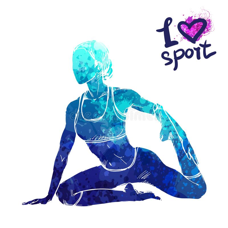 Silhueta brilhante da aquarela de uma menina que faz a ioga Ilustração do esporte do vetor ilustração royalty free