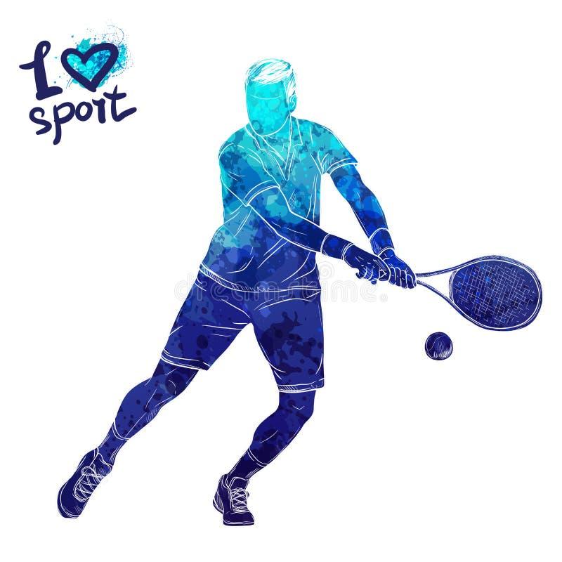 Silhueta brilhante da aquarela do jogador de tênis Ilustração do esporte do vetor Figura gráfica do atleta Povos ativos fotos de stock royalty free