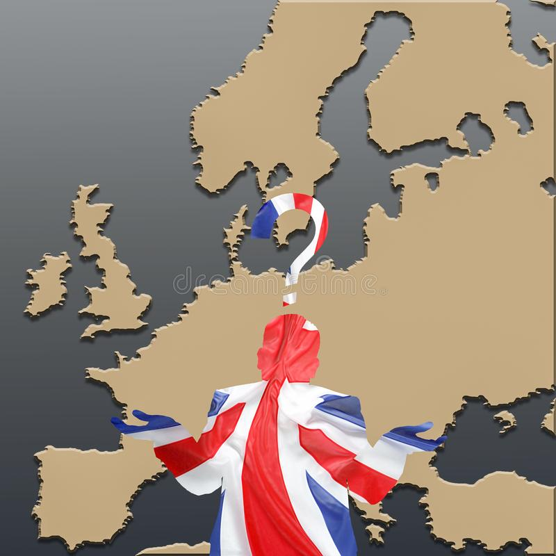 Silhueta britânica confusa sobre Europa ilustração stock