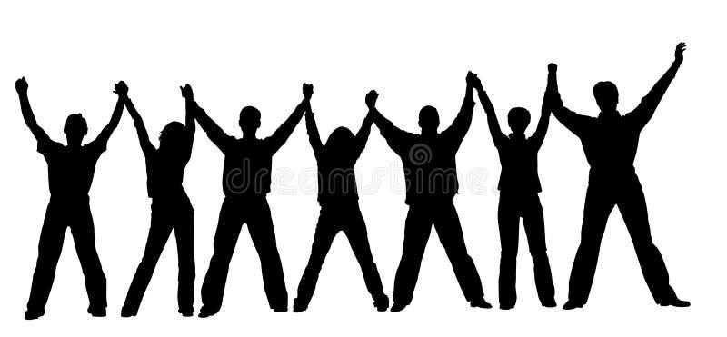 Silhueta chain dos povos ilustração do vetor