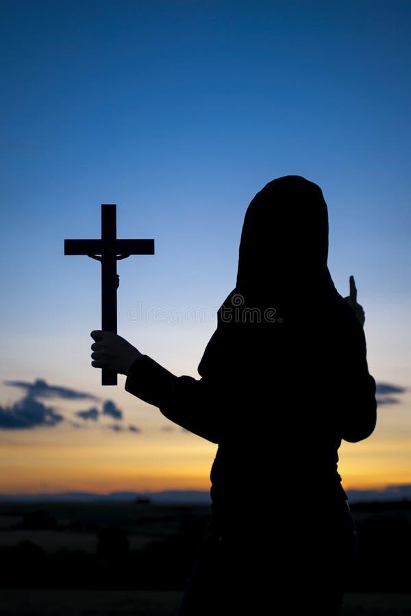 Silhueta Christian Preacher fotos de stock