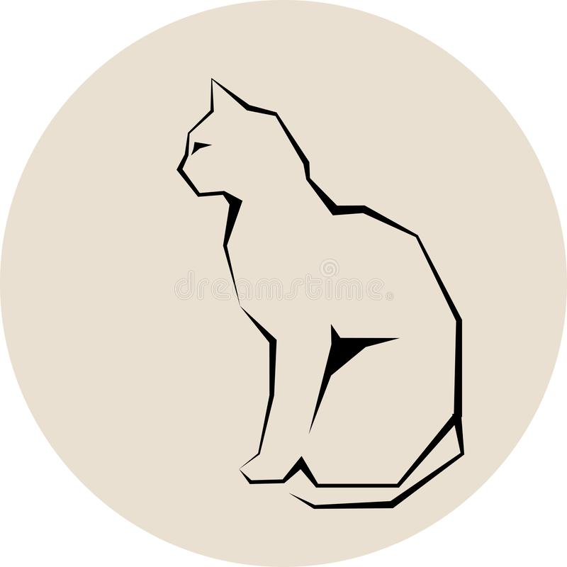 Silhueta cinzenta do vetor selvagem escuro do gato ilustração stock