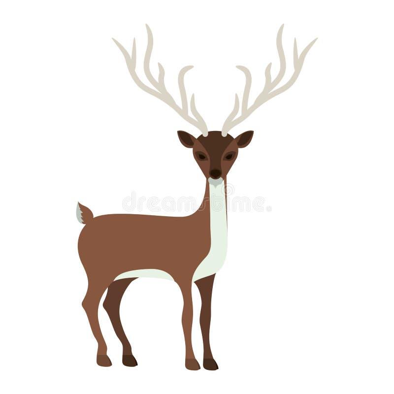 silhueta colorida com a rena de chifres longos ilustração do vetor