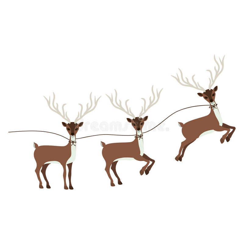 silhueta colorida com renas do Natal ilustração stock