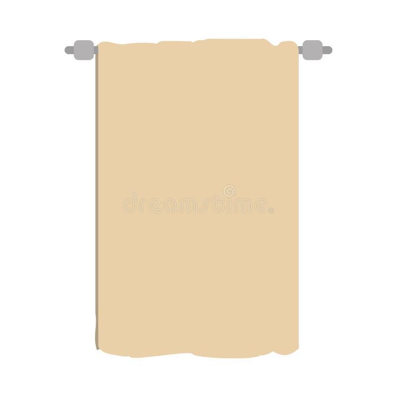 silhueta colorida com a toalha em cremalheira de secagem ilustração stock