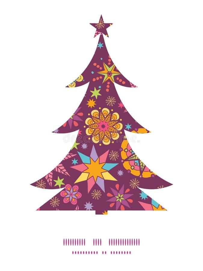 Silhueta colorida da árvore de Natal das estrelas do vetor ilustração royalty free