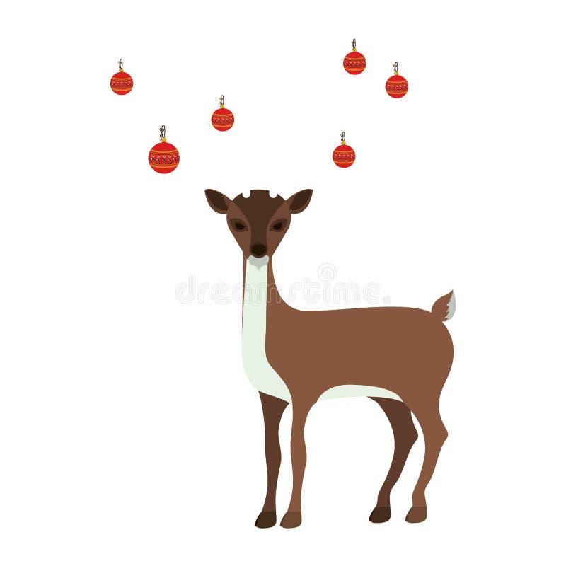 silhueta colorida da rena com as festões em chifres ilustração stock