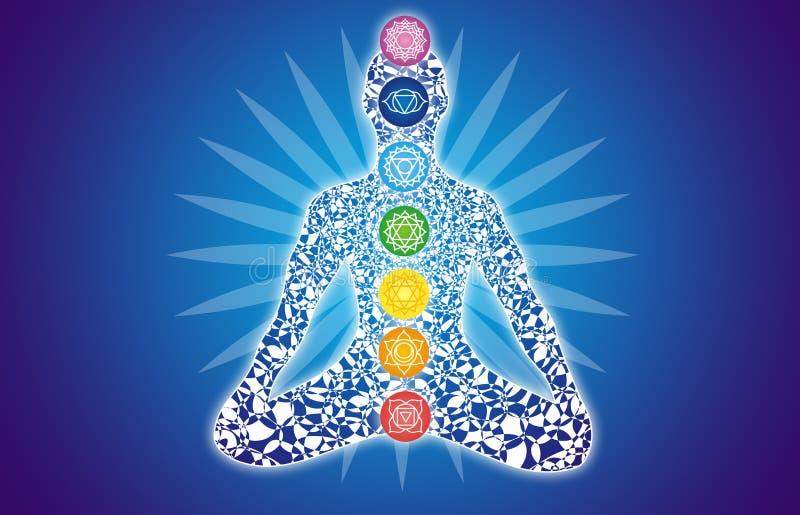 Silhueta colorida de um iogue em uma pose dos lótus contra um sbackground azul ilustração do vetor