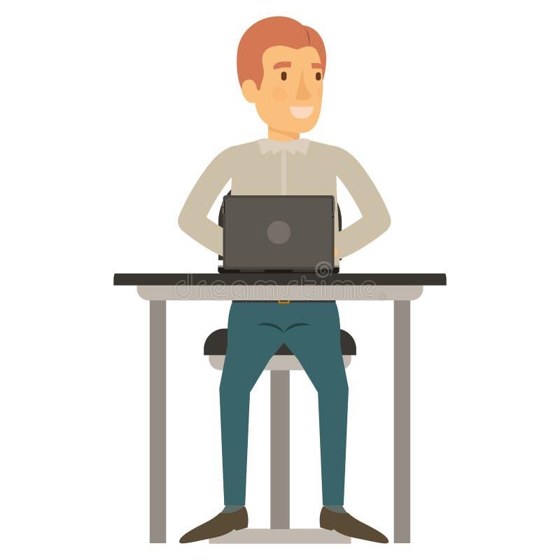 Silhueta colorida do homem na roupa ocasional e no cabelo avermelhado e no assento na cadeira na mesa com laptop ilustração do vetor