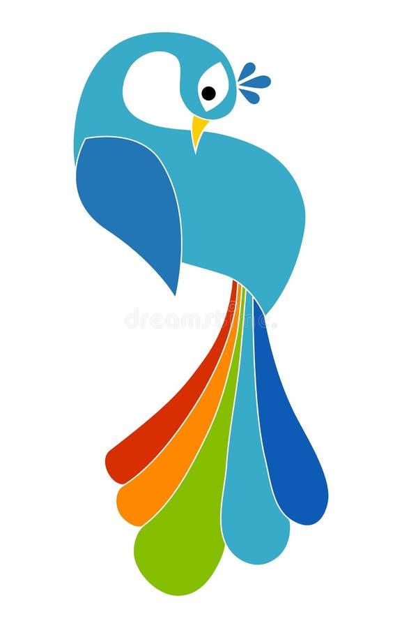 Silhueta colorida do pavão ilustração stock