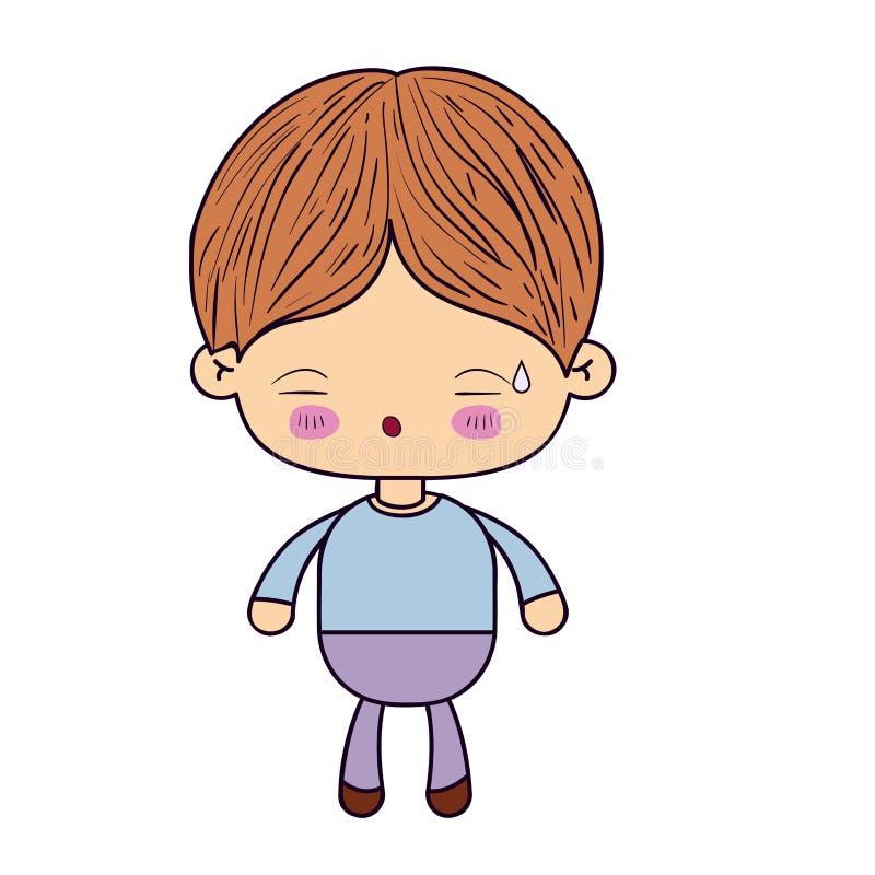 Silhueta colorida do rapaz pequeno do kawaii com expressão facial de cansado ilustração stock